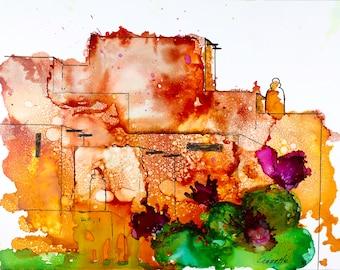 adobe new mexico santa fe taos native painting print alcohol ink canvas  native american, village, cactus