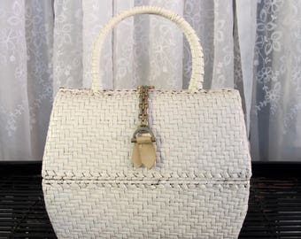 Vintage 60's Roberto Ricci for I Magnin woven lacquered wicker handbag with double wicker handles