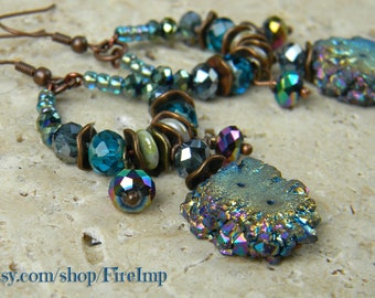 Aura - Colorful Beaded Boho Earrings - Blue Gold Starburst Druzy Rainbow Colors Rustic Copper