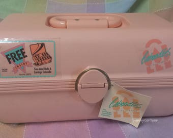 Vintage 80s PEACHY-PINK Caboodles case with original tag & sticker!!