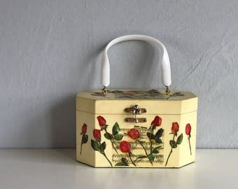Vintage Annie Laurie Handbag / 1950s Decoupage Wooden Box Purse with Lucite Handle / Roses and Musical Notes
