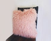 Pillow Cover - 20 x 20 - Blush Pink Faux Mongolian Fur