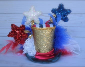 4th of July Red White Blue and Gold - Mini Top Hat Headband (or fascinator) - Perfect Photo Prop