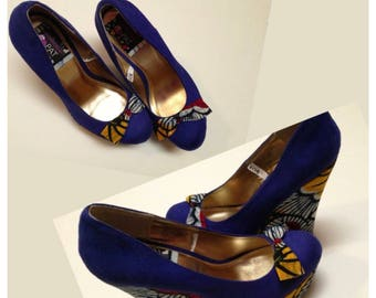 Ankara and suede wedge shoes
