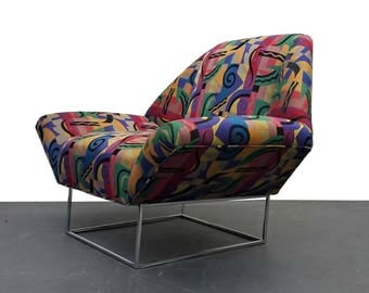 Oversized Mid Century Lounge Chair in the Style of Milo Baughman