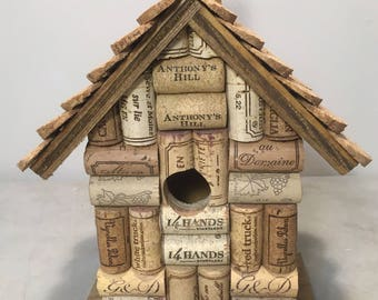 Wood, wine and champagne cork birdhouse bird house handmade with real cork for Spring.