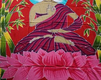Big Buddha Bamboo Batik Colorful Boho Sarong Tapestry