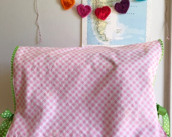 Vintage Pink Gingham Pillowcase Sewing Machine Cover/ Dust Cover with Green Poms + Ties