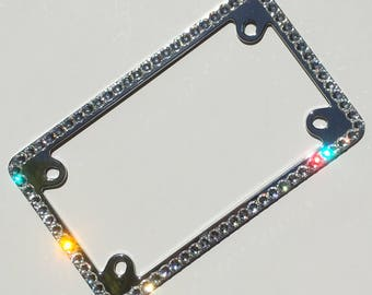 1 Row MOTORCYCLE CRYSTAL Bling License Plate Frame Diamond Rhinestone with Swarovski Crystals