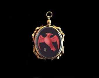 Sandra Hendler-MercurysMoon- Original Hand Painted Miniature of a Scarlet Bird in Antique English 9K Victorian Locket-Cardinal