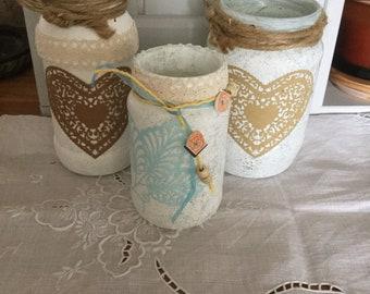 flower jars /candle holders x three
