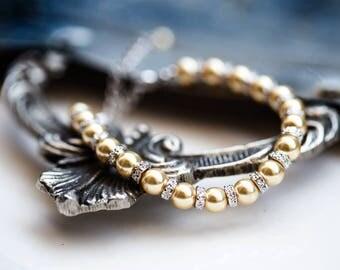 765_ Silver bracelet SWAROVSKI Gold pearls bracelet, Bride bracelet, Pearls bracelet, SWAROVSKI Bridal pearls jewellery, Gold bracelet bride
