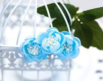 715_ Light blue flower hair pins, Bridesmaid flowers hair pin, Bridal flowers hair pin Bridesmaid silk flowers Fabric flowers hair accessory
