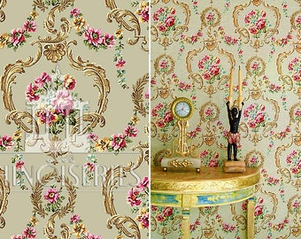 Dollhouse Miniature Wallpaper, Grande, Scale One Inch