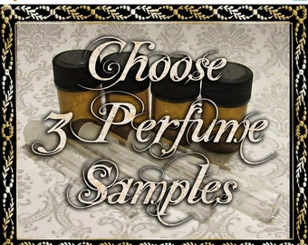 SALE Perfume Oil Samples: Choose Three (3) 1mL or 2mL Samples, Perfume Oil, Cologne Oils, Apothecary Fragrance, Ships Out in 5-7 Days