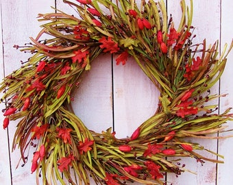 Fall Wreath-Fall Front Door Wreath-Fall Home Decor-Grass Wreaths-Fall Door Wreath-Fall Door Decor-GRASS POD LEAF Twig Door Wreath-Wreaths