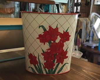 Vintage Metal Trash Can,Red Floral