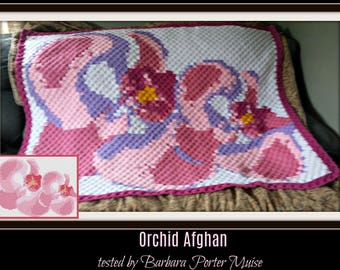 Orchid Afghan, C2C Graph, Written Word Chart