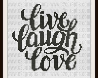 Live Laugh Love C2C Graph, Live Laugh Love, Quilted Stars Afghan, Live Laugh Love Crochet Pattern