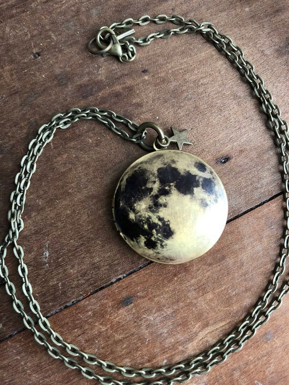 FULL MOON bronze locket moon from space photgraph planet