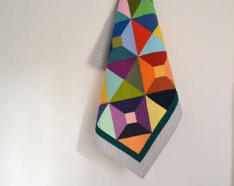 Geometric Baby Bedding, Modern Baby Quilt, Baby Quilt, Quilted Wall Hanging, Bright Crib Quilt