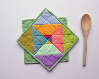 Modern Kitchen Decor, Geometric Pot Holders,  Quilted Pot Holders, Multicolored, Hostess Gift, Kitchen Accessories