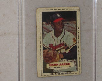 new just in 1964 bazooka hank aaron  awesome vg card in a screwdown case