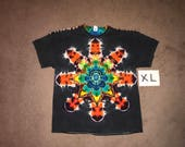 Tie Dye T-Shirt ~ Fire Rainbow Mandala With Black Background ~ i_6069 in Adult XL