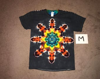 Tie Dye T-Shirt ~ Fire Mandala With Black Background ~ i_6085 in Adult Medium