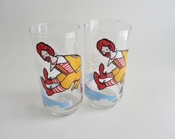 Vintage McDonald's Character Glasses 1977 McDonaldland Action Series Set of 2
