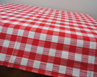 Red and White Checked Farmhouse or Picnic Tablecloth