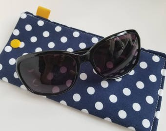 Padded Sunglass Case with Snap- Nany and white pokka dots