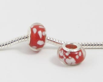 3 Beads - Red w White Dots Snowflakes Glass Silver European Charm Bead E0066