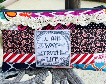 cosmetic bag-make up bag-calligraphy scripture-vintage boho chic - patchwork-walk by faith bible verse- god is the way the truth the life