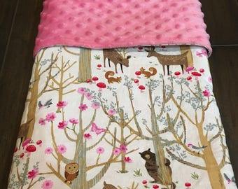 Woodland Creatures Baby Girl Minky Blanket