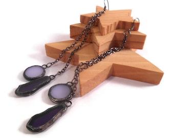 Purple Earrings Stained Glass Earrings Purple Glass Earring Handmade Jewelry Dangle Drop Earrings Mauve Earrings Long Chain Earrings Unique