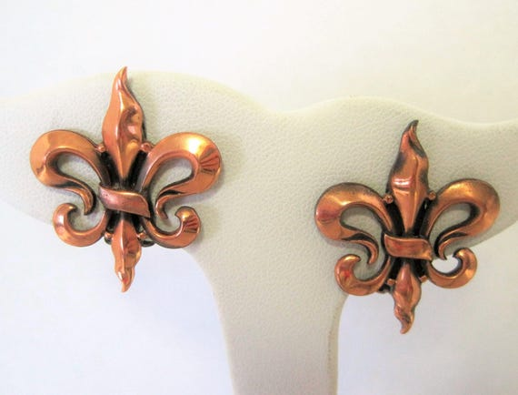 Renoir Copper Earrings - Fleur de Lis Modernist -  Mid Century- Clip On Signed