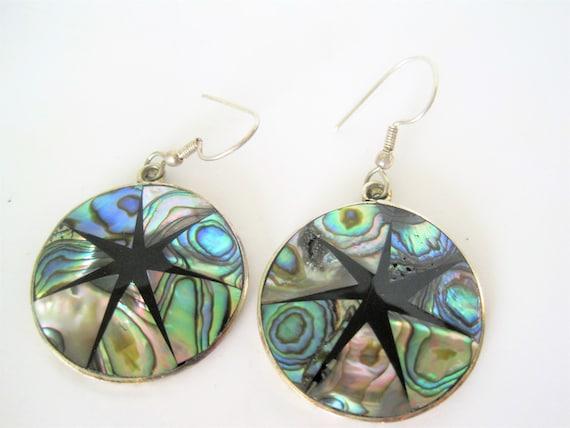 Abalone Alpaca Earrings - Mexico Alpaca -  Abalone Inlaid - Onyx Design - Dangle Earrings