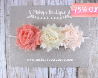 Newborn Mini Coral Ivory Pale Peach Flower Headband/ Baby Headband/ Flower Girl Headband/ Clearance/ Vintage Style/ Elegant