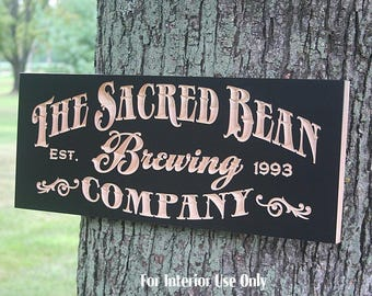 Coffee Bar Sign, Coffee Wall Art, Coffee Sign, Coffee Art, Carved Wood Sign, Personalized Pub Sign, Beer Sign, Benchmark Signs, Maple CE