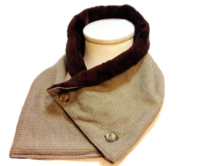Unisex Neck Warmer from Vintage Twill and Soft Velvet in Rich Burgundy and Brown -- Eco Gift Scarf Alternative for Men or Women