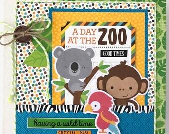 25% OFF SALE Zoo Scrapbook Album Kit or Premade Pre-Cut with Instructions 6x6 Animals Elephants Tigers Monkeys Safari