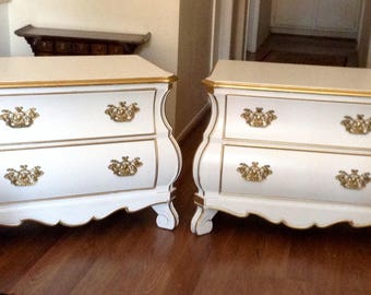 Pair of White and GoldTrim French Provincal End Tables, Nightstands