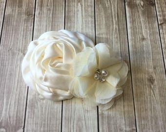 Ivory Bridal Hair Piece with Rhinestone Pearl accent. Wedding Bridal Flower Girl. Flower Bride bridesmaid Women