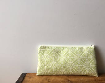 Lime Green and White Damask Pencil Case, Cute Zipper Pencil Pouch, Back to School, Schoo Supply