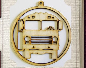 School Bus Ornament - Laser Cut Wood