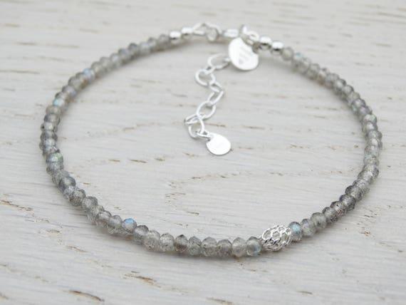 Labradorite & Silver Bracelet, Stacking, Sterling Silver