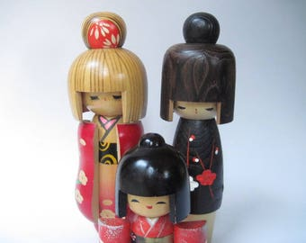 Vintage Collection of 3 Kokeshi Dolls Japan