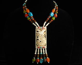 """Bone & Colorful Bead Necklace.  2-Strands Hold Nearly 3""""  Bone Pendant  with its 5 Long Beaded Dangles.  Adjusts from 17.5"""" to 20"""" Long"""