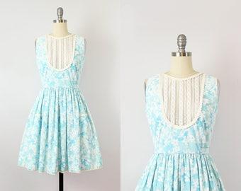 vintage 60s LILLY PULITZER dress / 1960s floral sundress / blue white floral print dress / eyelet lace bib dress / The Lilly designer dress